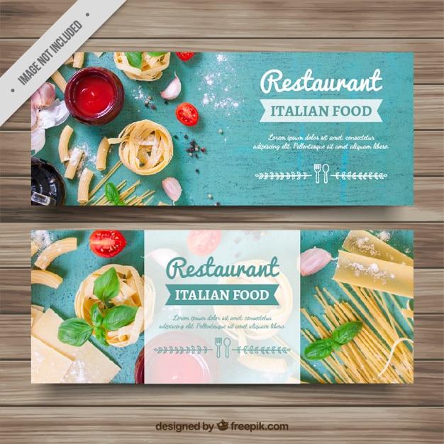 Итальянские баннеры рестораны Бесплатные векторы