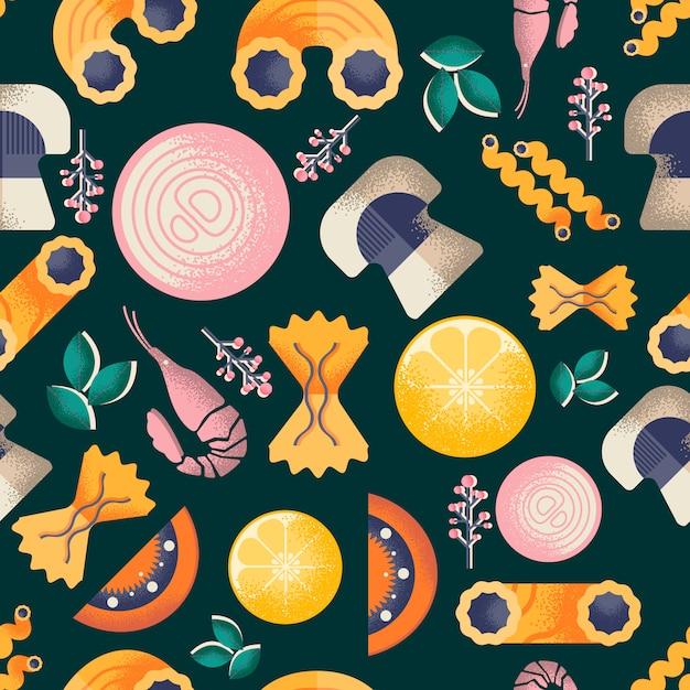 イタリア料理のシームレスパターン Premiumベクター