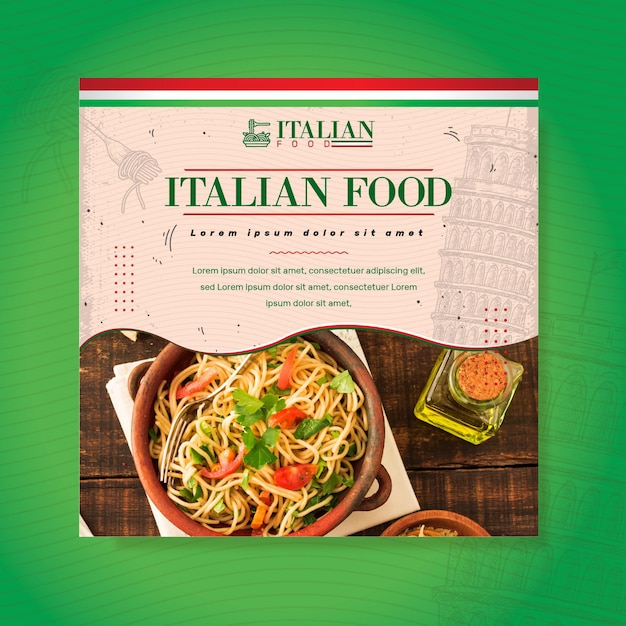 Italian food square flyer template Free Vector