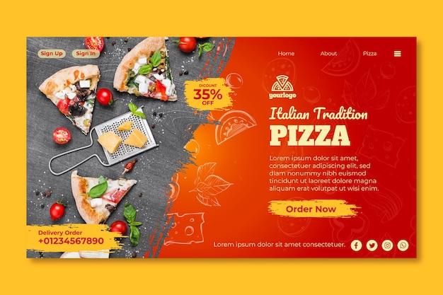 Pagina di destinazione del modello di cibo italiano Vettore gratuito