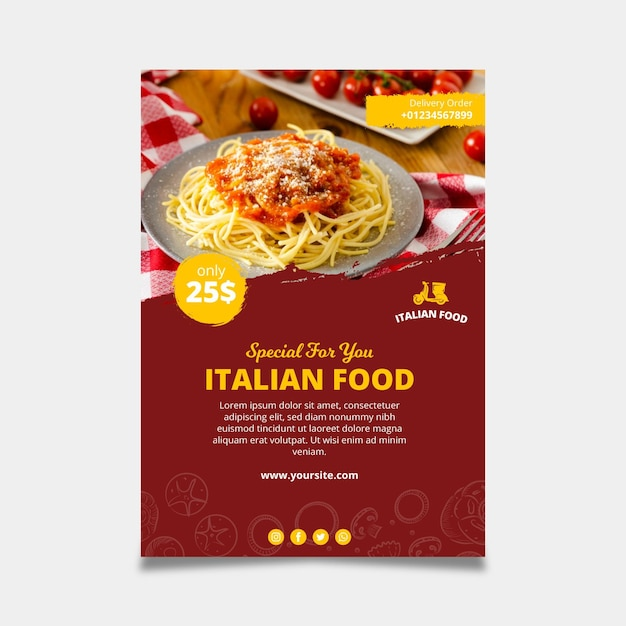 Italian food template poster Premium Vector