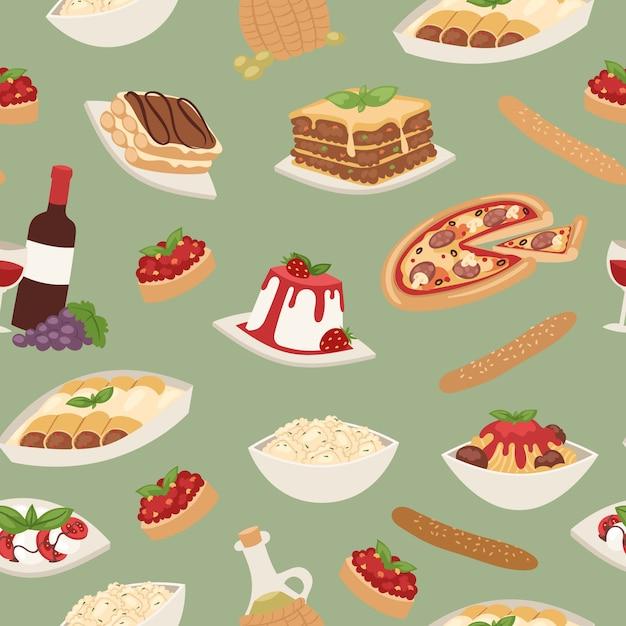 料理ピザ、ランチパスタ、スパゲッティとチーズ、デザート、ワインのシームレスパターンとイタリア料理 Premiumベクター