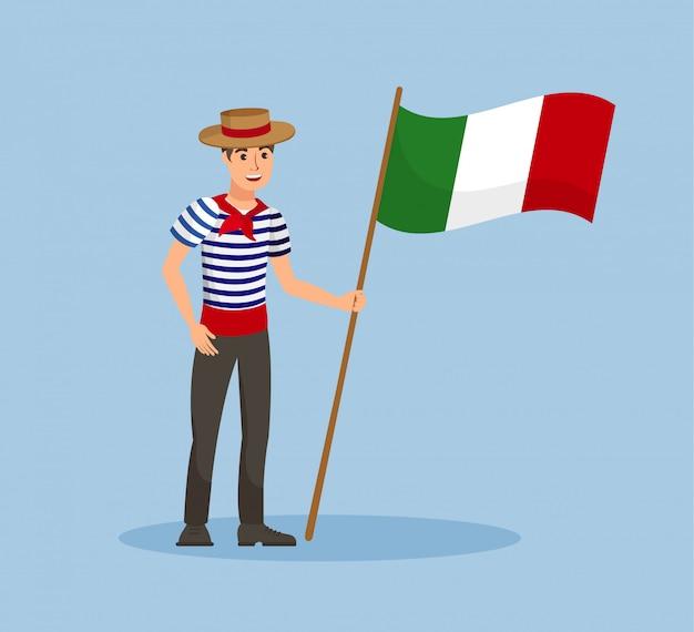 Italian guy with national flag vector illustration Premium Vector