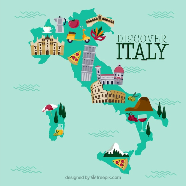 イタリア語の地図 Premiumベクター