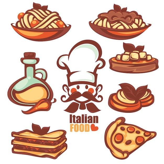 Italian menu food collection Premium Vector