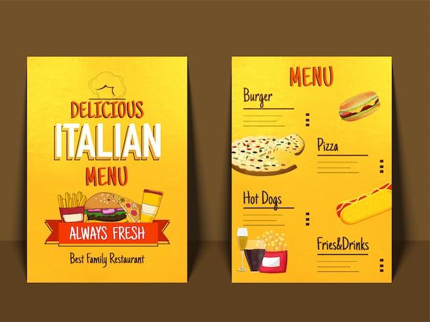 italian menu placemat food restaurant brochure vector premium download