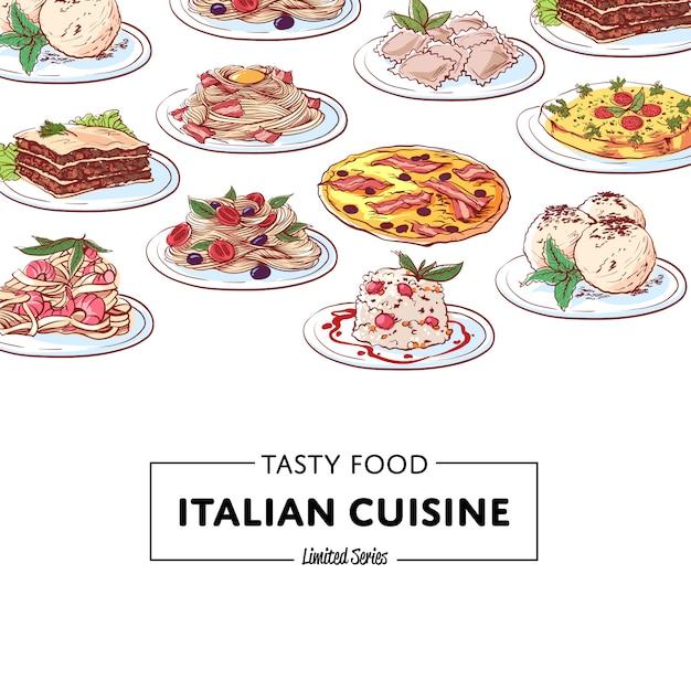 Фон блюд итальянской национальной кухни Premium векторы