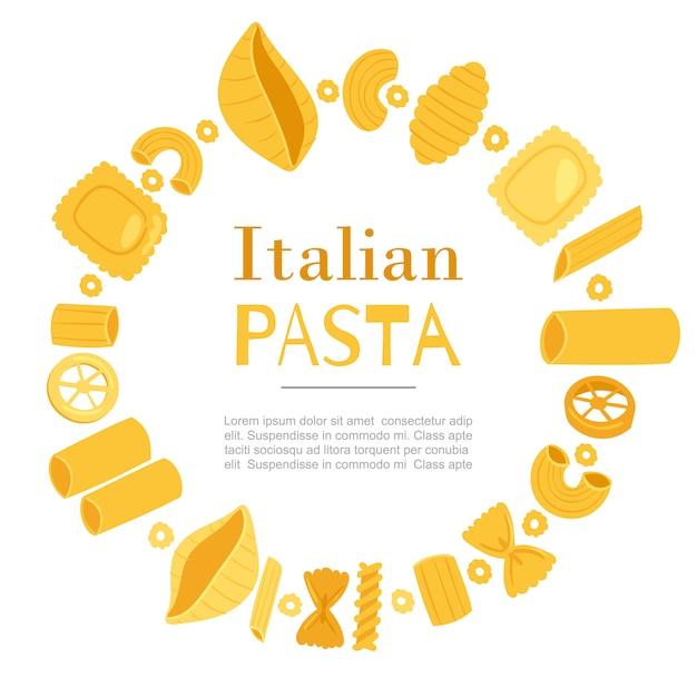 Итальянская паста разных видов фузилли, спагетти, гомити ригати, фарфалле и ригатони, равиоли в круговой рамке шаблона Premium векторы