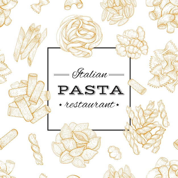 イタリアのパスタ。フードメニューのデザイン。パスタレストラン、ビンテージスタイルの手描きスケッチポスター Premiumベクター
