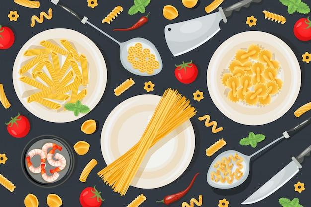 イタリアのパスタ食材、プロの食品の準備の家庭用品のパターン図。コンセプトの食事ナイフ。 Premiumベクター