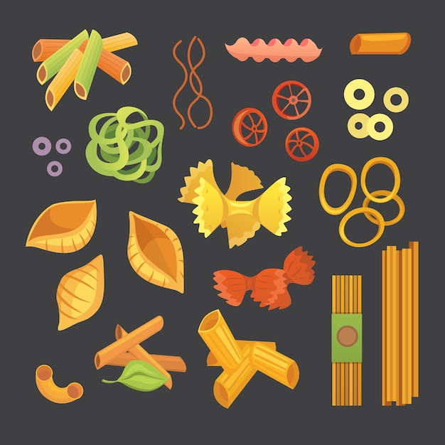 漫画のイタリアンパスタ。マカロニのさまざまな種類と形。ラビオリ、スパゲッティ、tortiglioniイラスト分離 Premiumベクター