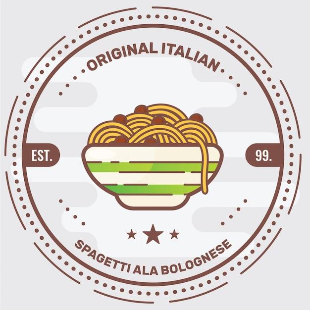 Italian pasta logo badge Premium Vector