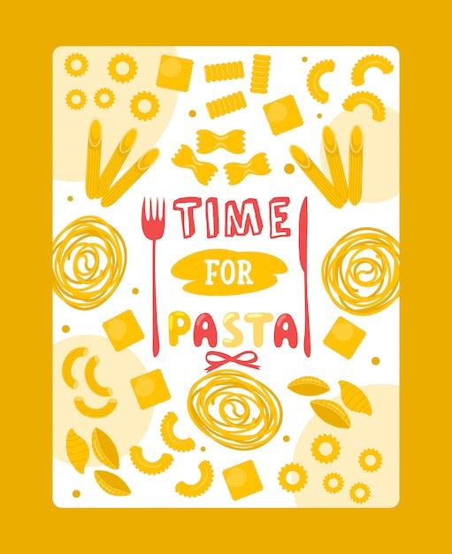 Итальянская паста постер, типография фраза время для макарон Premium векторы