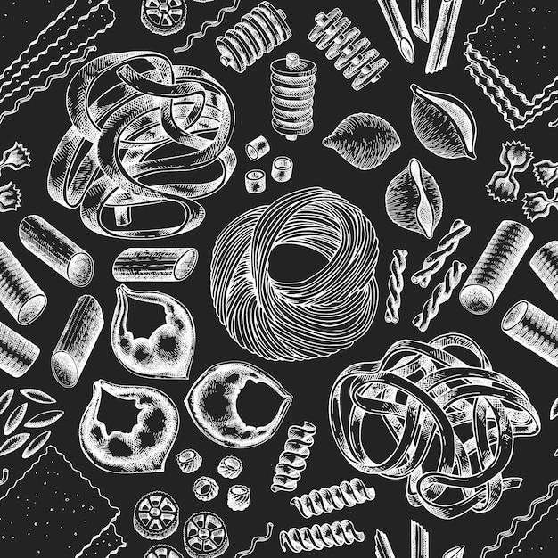 イタリアのパスタのシームレスなパターン。チョークボードに描かれたベクター食品イラストを手します。刻まれたスタイルレトロパスタ Premiumベクター