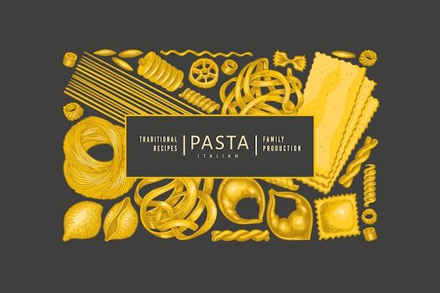 이탈리아 파스타 템플릿. 어두운 배경에 손으로 그린 음식 그림입니다. 빈티지 파스타 종류 배경입니다. 프리미엄 벡터