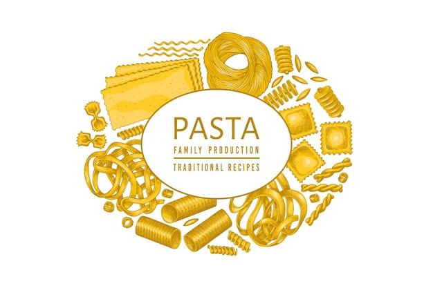 이탈리아 파스타 템플릿. 손으로 그린 음식 그림. 빈티지 파스타 종류 배경입니다. 프리미엄 벡터