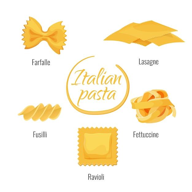 Italian pasta types vector isolated icons Premium Vector