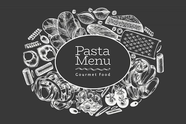 Итальянская паста с добавками. нарисованная рукой иллюстрация еды вектора на доске мела. выгравированный стиль. винтажные макароны разных видов. Premium векторы