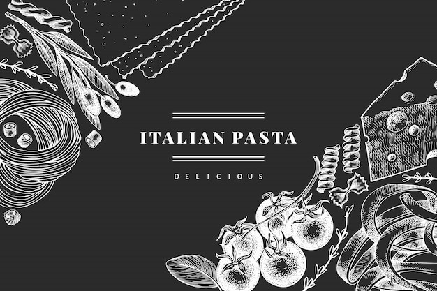 Italian pasta with additions  template. hand drawn  food illustration on chalk board. engraved style. vintage pasta different kinds background. Premium Vector