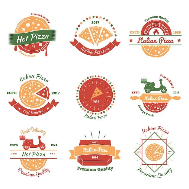 Set di emblemi di pizza italiana Vettore gratuito