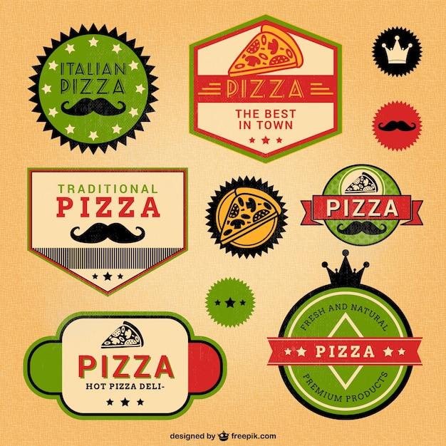 Italian pizza retro style labels