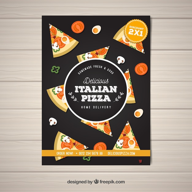 Italian pizza slice brochure