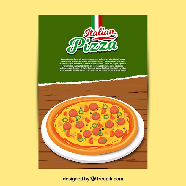 Italian pizza with cheese brochure Free Vector