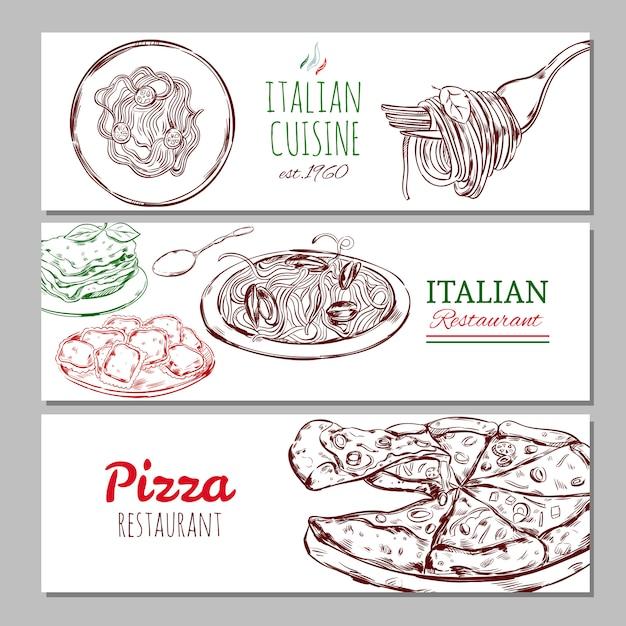 Итальянский ресторан горизонтальные баннеры Бесплатные векторы
