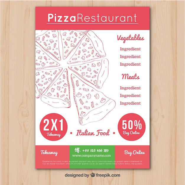 Italian restaurant brochure with pizza offers