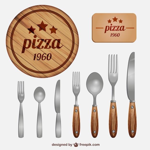 Italian restaurant cutlery vector free download