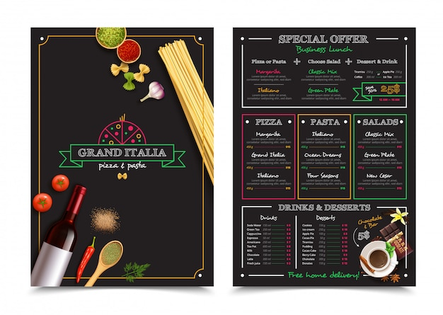 Italian restaurant menu with special offer for business lunch design elements Free Vector