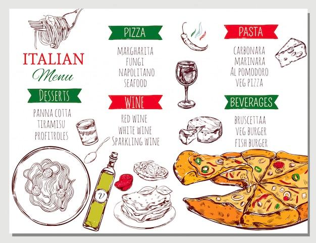 Меню итальянского ресторана Бесплатные векторы