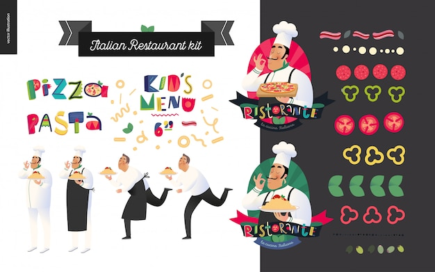 Italian restaurant set Premium Vector