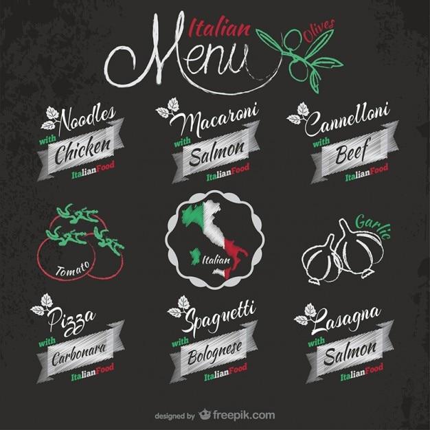 Italian restaurant stickers Free Vector