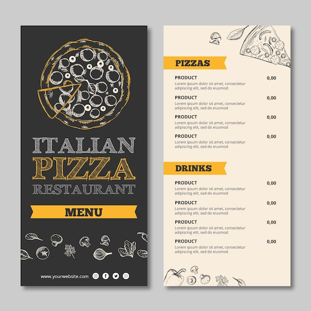 Concetto di design volantino modello ristorante italiano Vettore gratuito