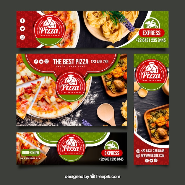 Italian restaurant web banner collection with photo Free Vector