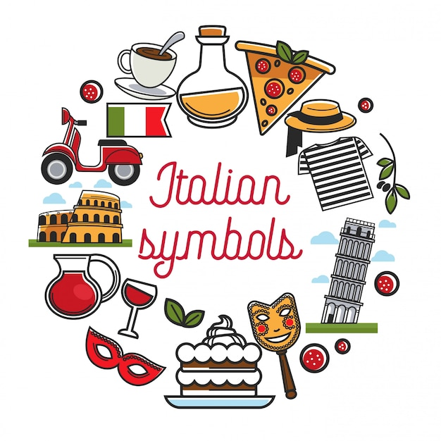 Italian symbols poster with national architecture and cuisine Premium Vector