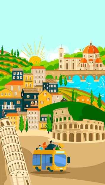 イタリアの町のバスツアーのポスター、イタリアの都市の有名なシンボルやランドマークの休暇のイラストの観光。ローマ。 Premiumベクター