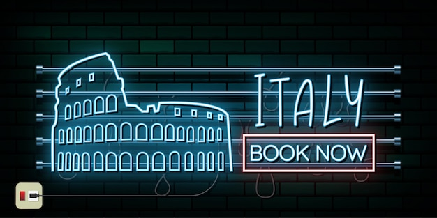 Италия и рим путешествия и путешествия неоновый свет фон Premium векторы