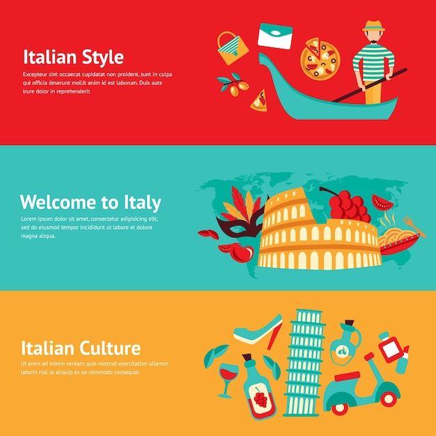 Italy banner set with italian style culture isolated