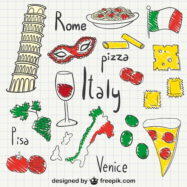 Italy drawings pack Free Vector
