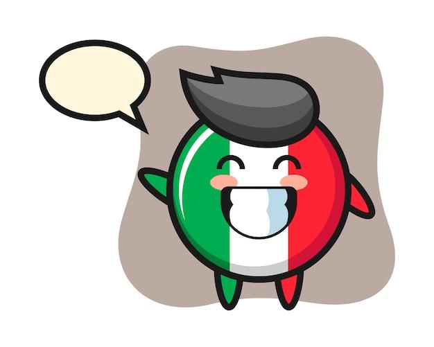 波の手のジェスチャー、かわいいスタイル、ステッカー、ロゴの要素を行うイタリアの旗バッジの漫画のキャラクター Premiumベクター
