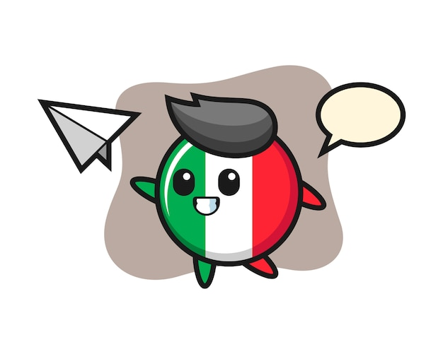 紙飛行機、かわいいスタイル、ステッカー、ロゴ要素を投げるイタリアの旗バッジの漫画のキャラクター Premiumベクター
