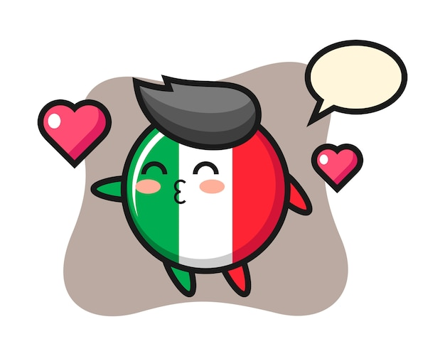 Italy flag badge character cartoon with kissing gesture, cute style , sticker, logo element Premium Vector