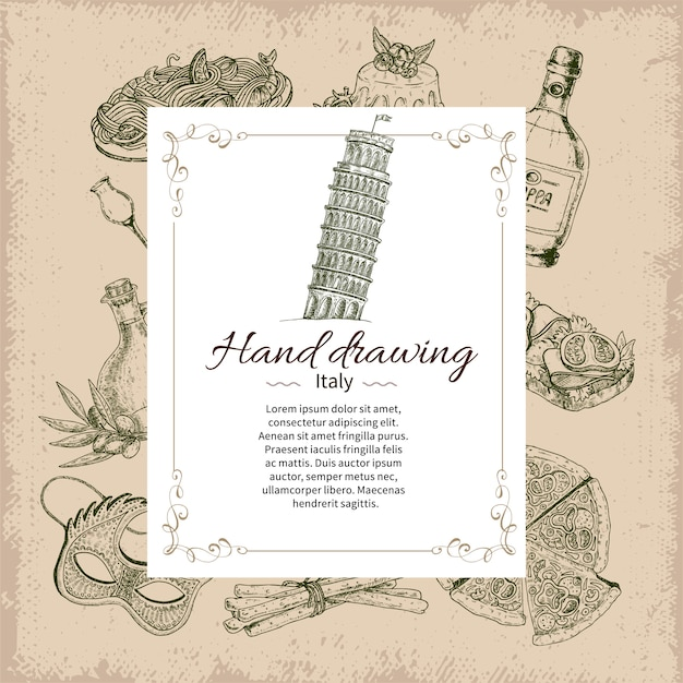 Italy hand drawn card template Free Vector