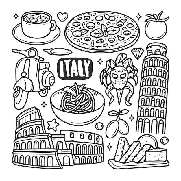 Colorazione di scarabocchio disegnato a mano delle icone dell'italia Vettore gratuito