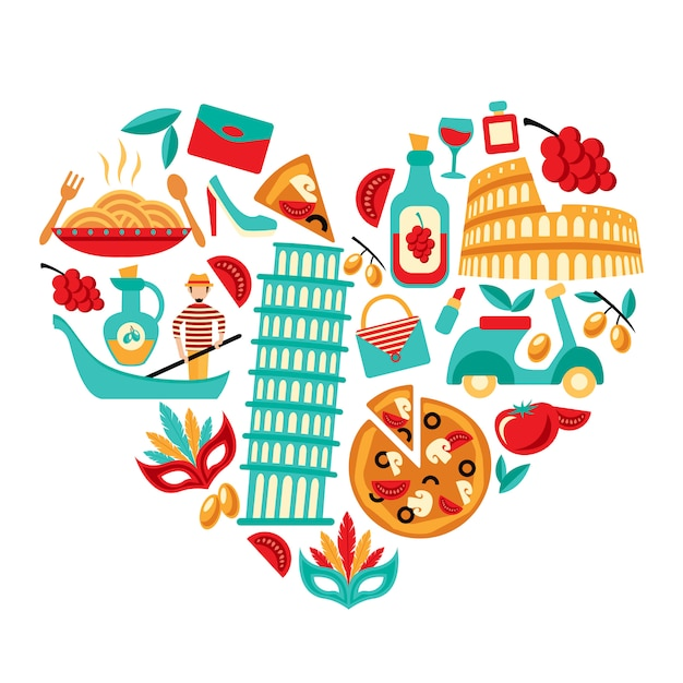 Italy icons heart Free Vector