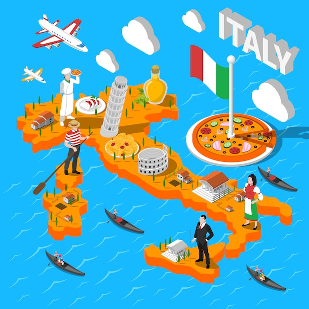Italy isometric sightseeing map for tourists Free Vector