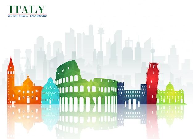 Итоговая газета о путешествиях и путешествиях в италию Premium векторы