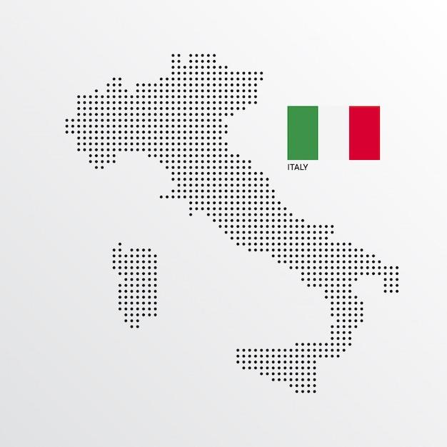 Италия дизайн карты с флагом и светлым фоном Бесплатные векторы